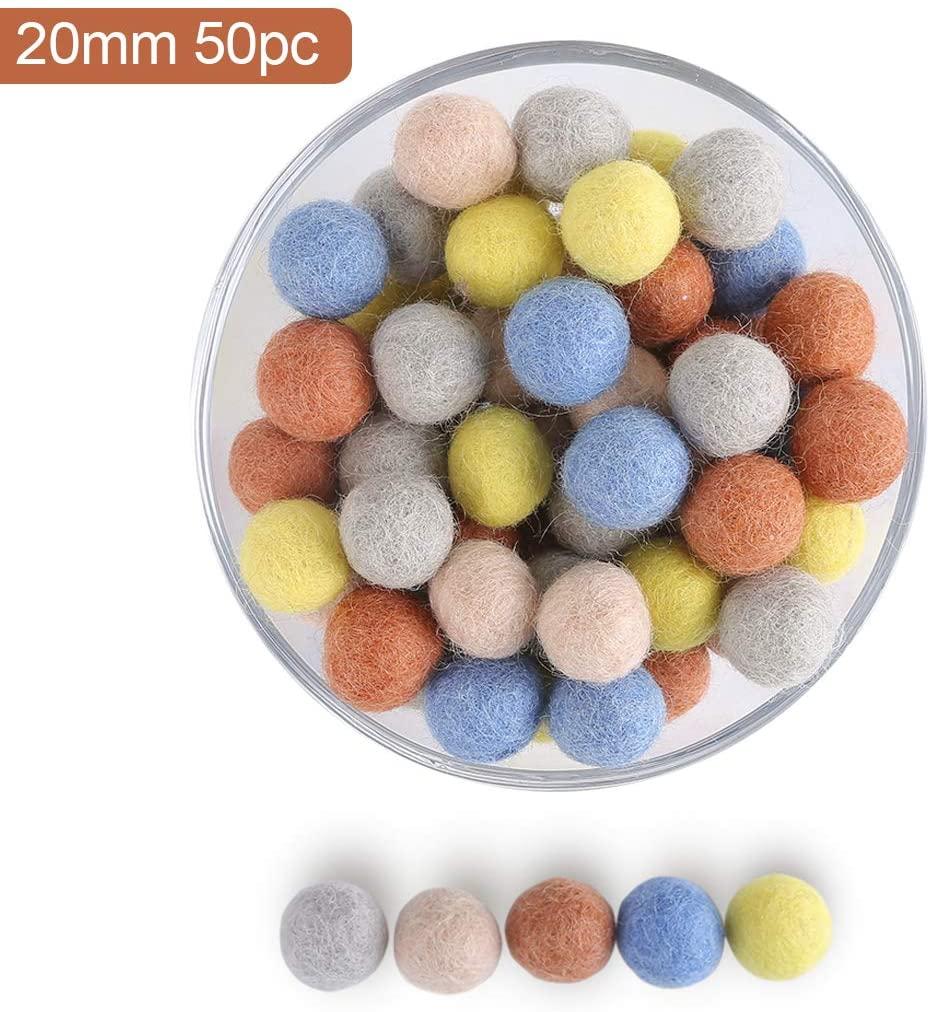 100% Handmade Wool Felt Pom Poms - Pure New Zealand Wool Felt Balls - DIY Mixed Color Pompoms Wool Beads for Crafts Decorations 50pcs 20mm