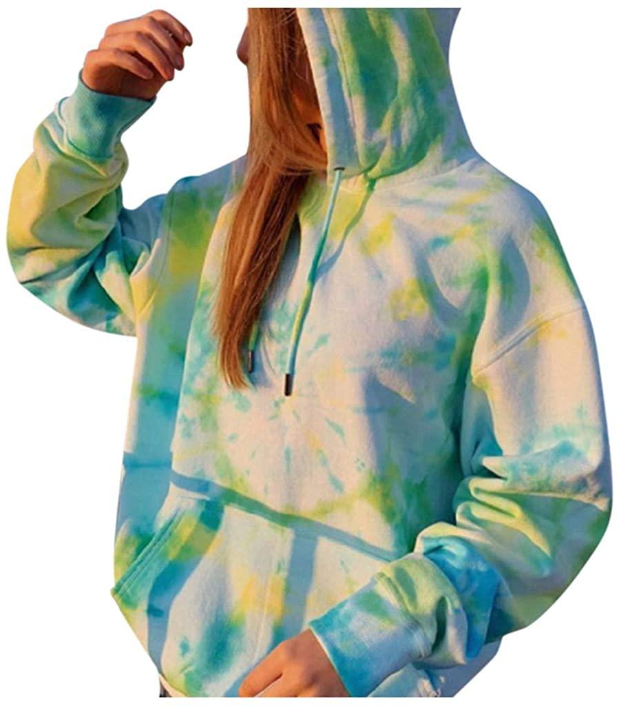 Ghazzi Women's Hoodies Sweatshirt Tops Casual Oversized V-Neck Tie Dye Printed Long Sleeve Pullover Sweatshirt with Pocket