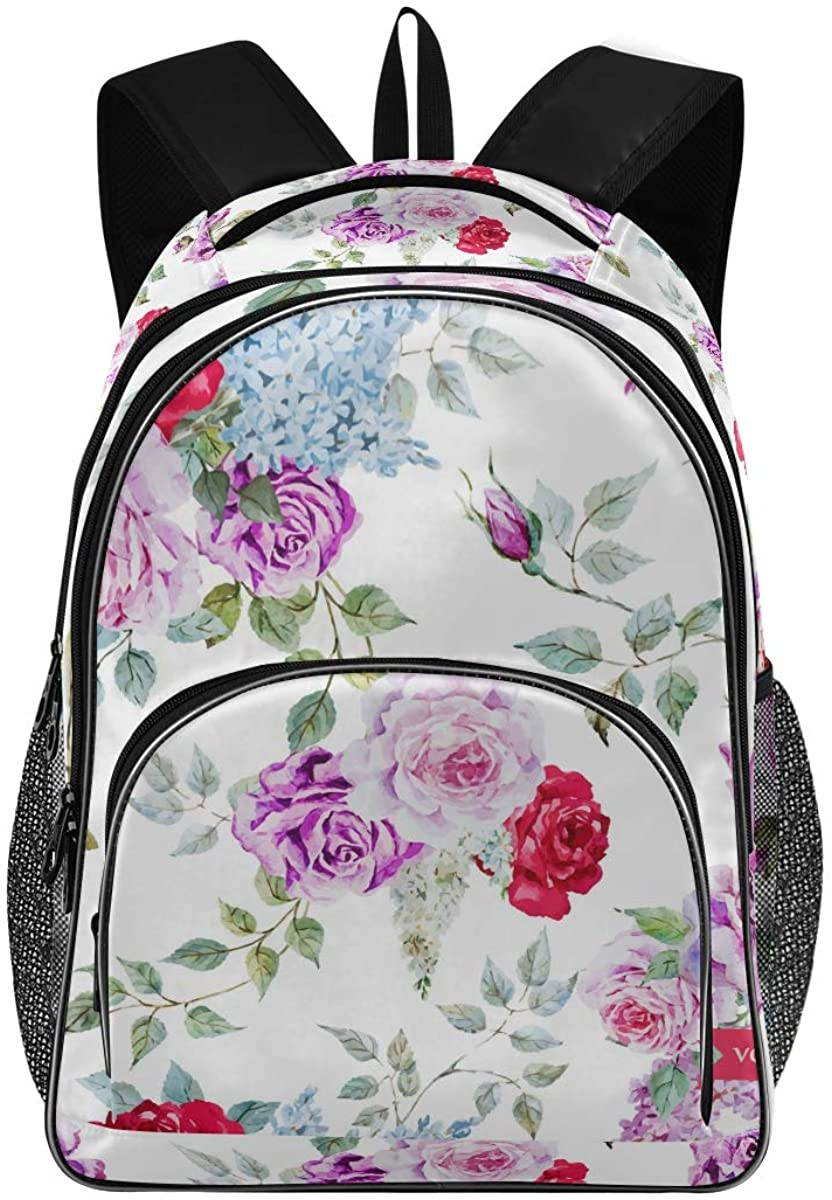 Pink Red Purple Roses New Backpack for School Teenagers Girls Boys Travel Bag(628o)