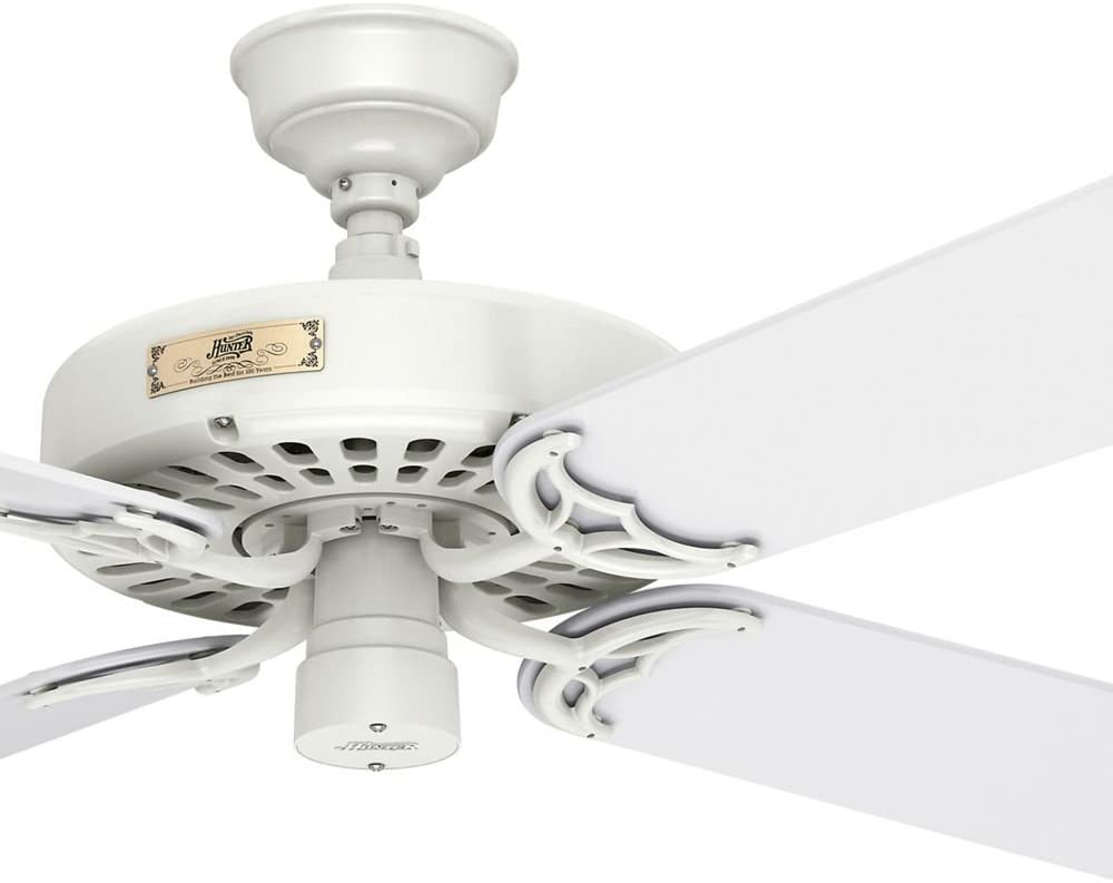 Hunter Fan 52 inch White Finish Outdoor Ceiling Fan with 5 White Blades (Renewed)