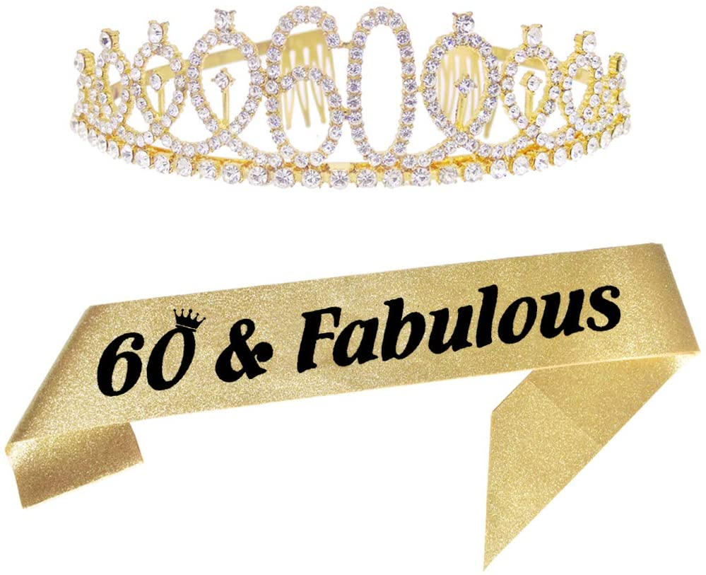60th Gold Birthday Tiara and Sash Happy 60th Birthday Party Supplies 60th Gold Birthday Glitter Satin Sash and Crystal Tiara Princess Birthday Crown for Girls 60th Birthday Party Decorations