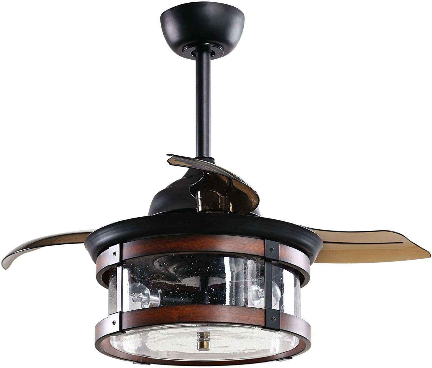 36 Inch Invisible Ceiling Fan with Lights Remote Control Vintage Chandelier Ceiling Fan with Retractable 3 Blades Glass Shade, 3 Bulbs EXCLUDED, Oil Rubbed Bronze