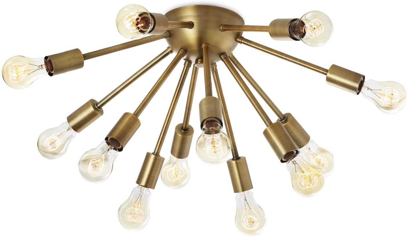 Brass Sputnik Flush Mount Light - 12 Socket Ceiling Fixture, Mid-Century Modern Chandelier by Brooklyn Bulb Co - ETL Listed