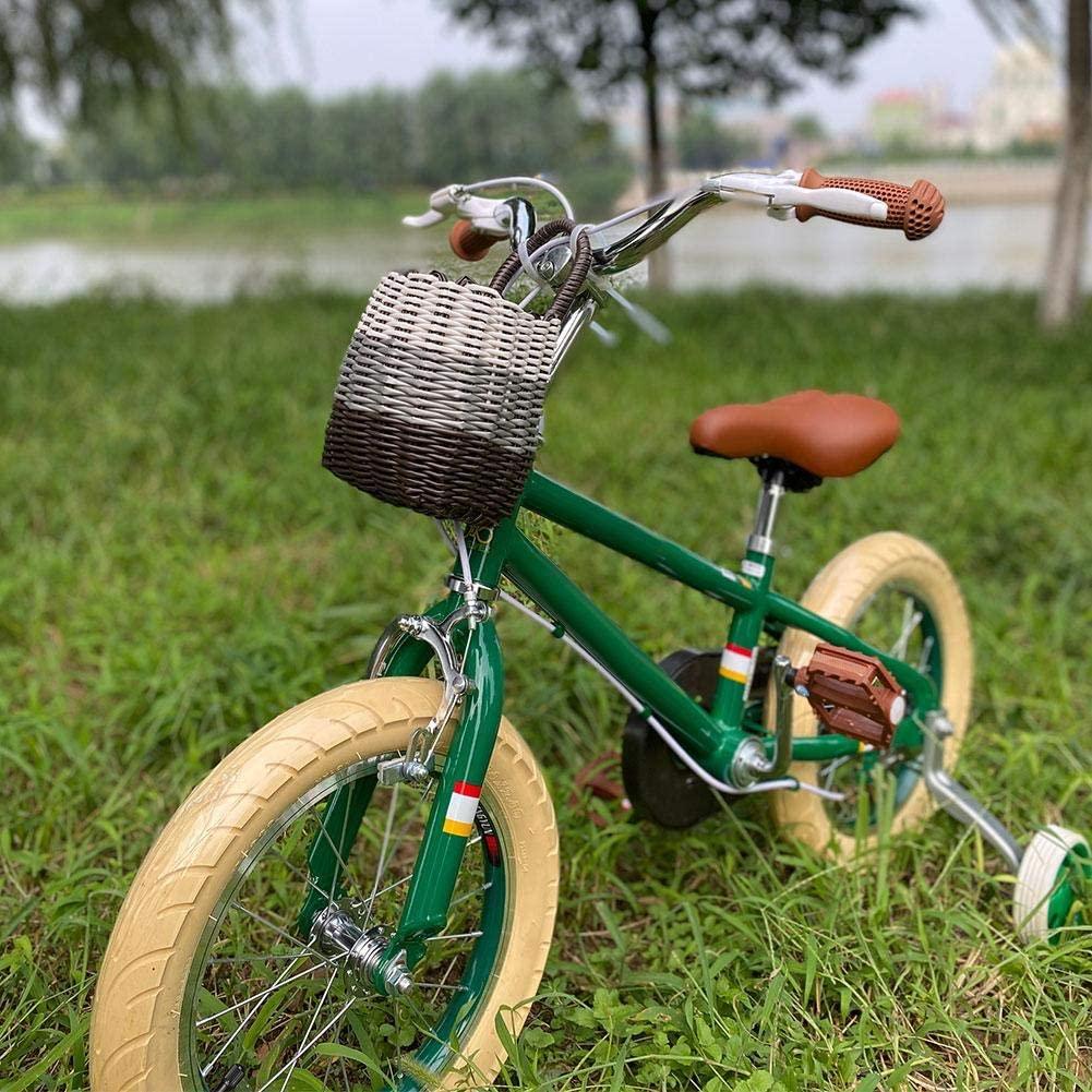 Window-pick 14X13X11cm Kids Bike Basket Front Handlebar Wicker Bike Basket Durable and Waterproof Detachable Woven Bicycle Front Crate for Child Bikes