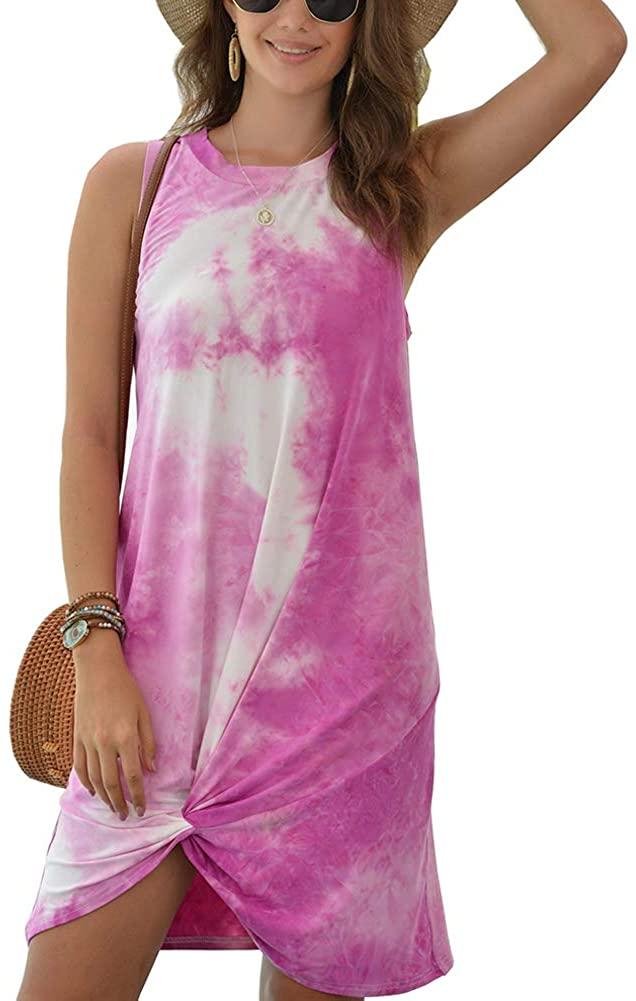 Hou Women Casual Tie Dye Tank Dresses Summer Sexy Crew Neck Sleeveless Loose T Shirt Mini Dress Loungewear