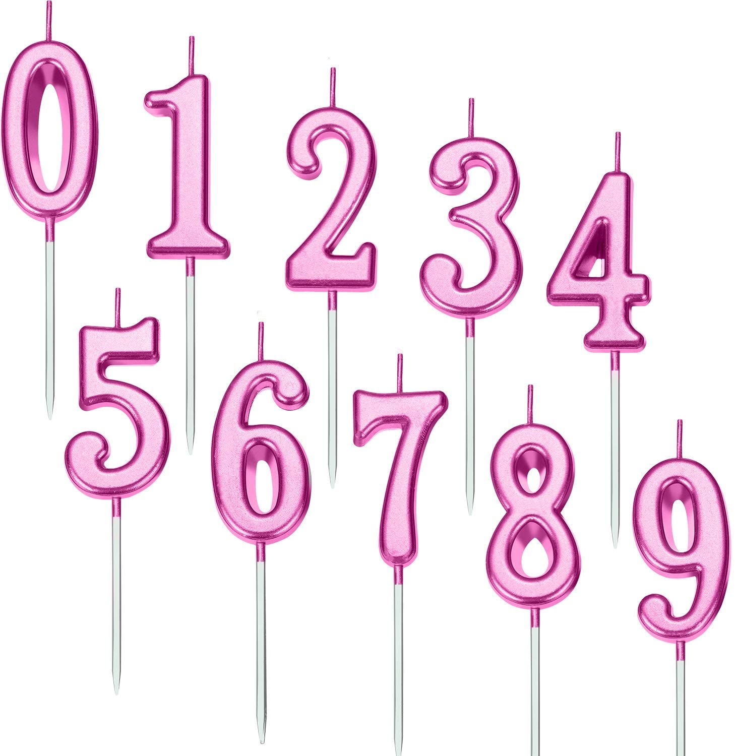 Yaomiao 10 Pieces Birthday Numeral Candles Cake Numeral Candles Number 0-9 Glitter Cake Topper Decoration for Birthday Party Favor (Purple)