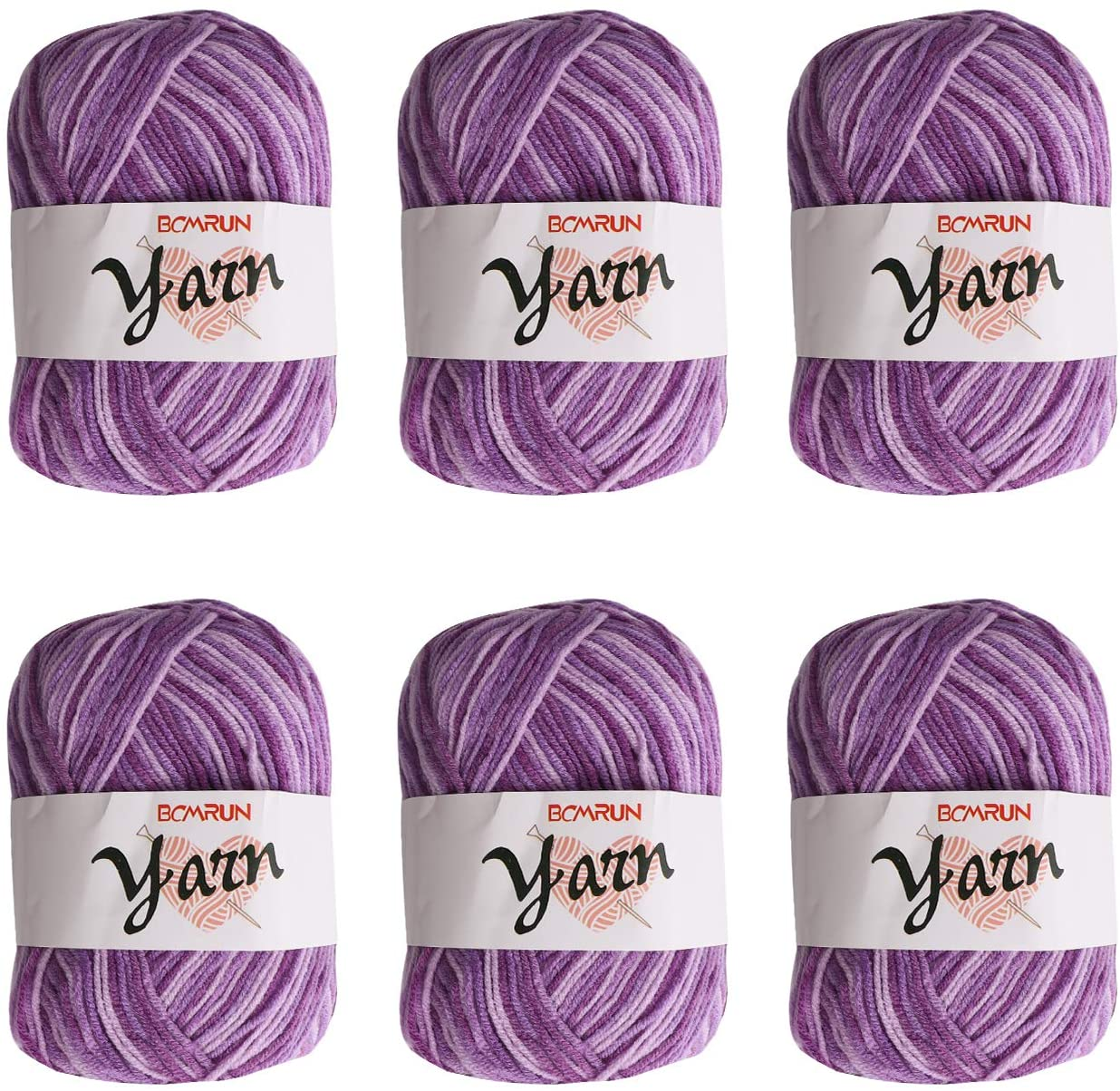 Knitting Yarn Bonbons 6 x 50g Double Knitting Yarn Set Skeins Large Yarn Bonbons Assorted Colors 100% Acrylic for Crochet Knitting Pack Variety Colored Assortment Colourful Chunky Acrylic Yarn Set