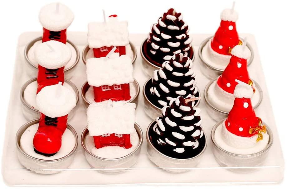 minansostey 12pcs Santa Claus Snowman Tree Candles Christmas Decor Xmas Party Celebration