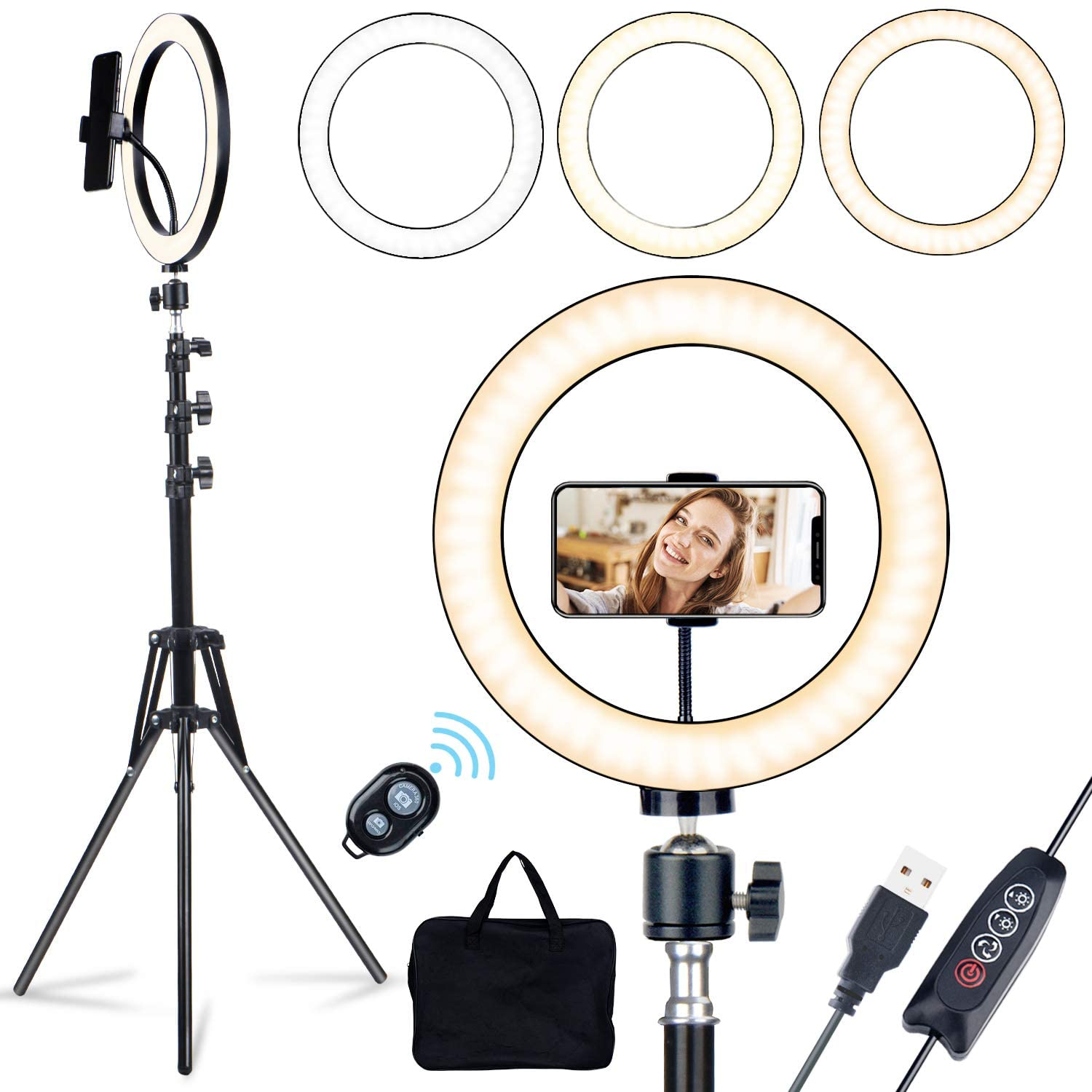 LED Selfie Ring Light with 63'' Tripod Stand & Phone Holder, 10'' Dimmable RingLight Kit USB Lamp for Live Stream/Makeup/YouTube Video/Lighting/Beauty -Carrying Bag, Metal Body and Brighter LED Chips