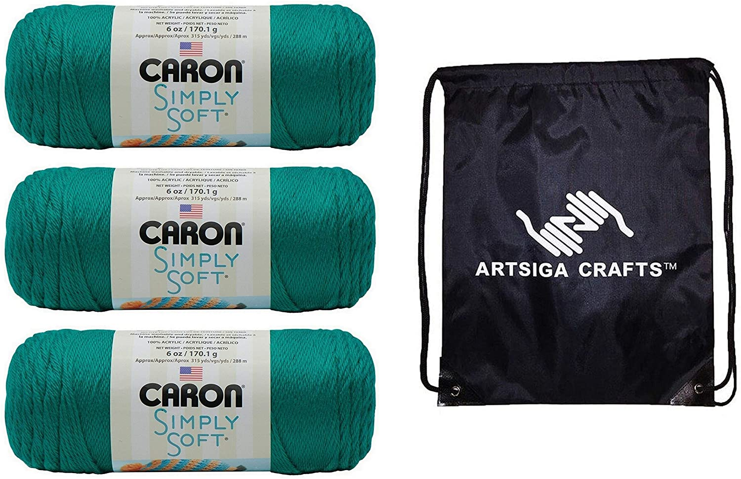Caron Knitting Yarn Simply Soft Solids Cool Green 3-Skein Factory Pack (Same Dyelot) H97003-9770 Bundle with 1 Artsiga Crafts Project Bag