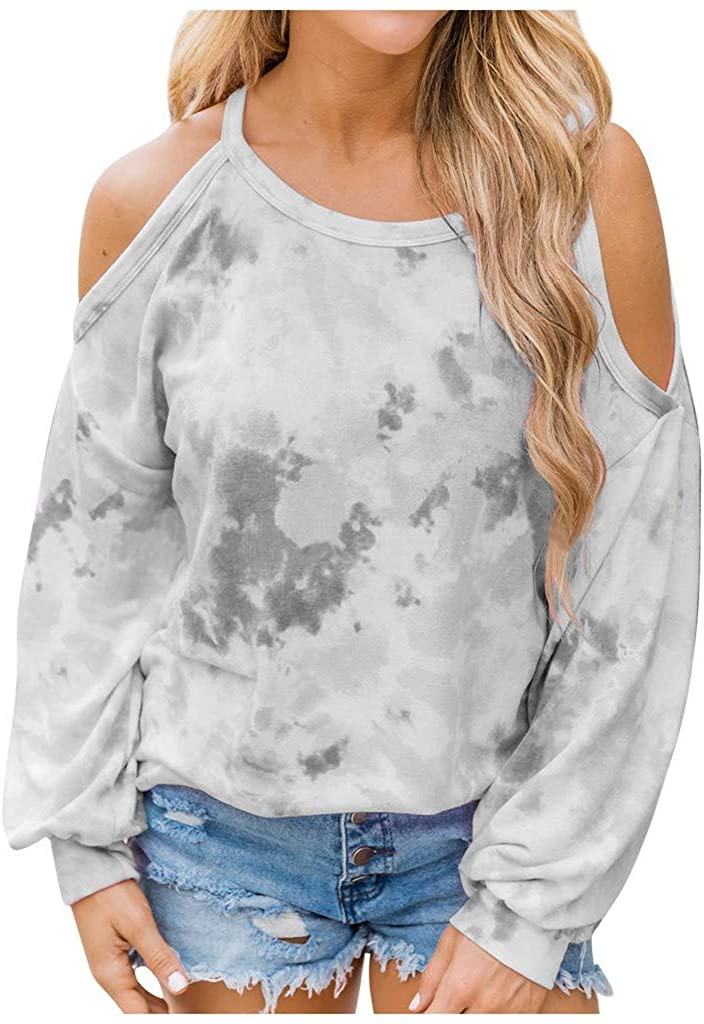 Womens Halter Neck Tops Cut Out Shoulder Shirts Casual Tunic Long Sleeve Tie Dye Blouses Cold Shoulder Tops Plus Size