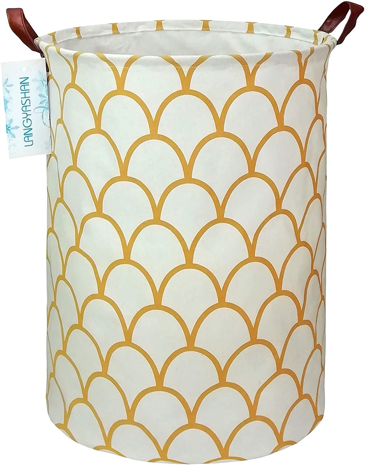 LANGYASHAN Storage Bin,Canvas Fabric Collapsible Organizer Basket for Laundry Hamper,Toy Bins,Gift Baskets, Bedroom, Clothes,Baby Nursery (Gold Egg)