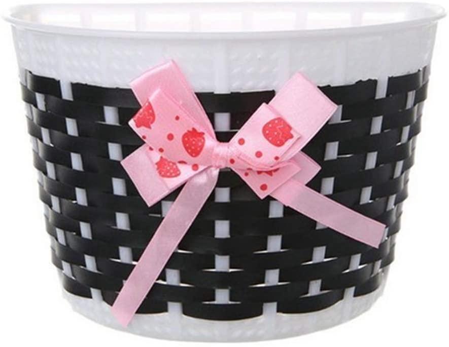 VORCOOL Bike Baskets,Kid Bicycle Basket Knitted Bowknot Front Basket for Children Girl Bicycle and Skateboard(Black)