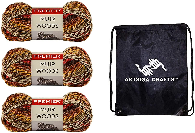 Premier Knitting Yarn Muir Woods Sequoia 3-Skein Factory Pack (Same Dye Lot) 1074-14 Bundle with 1 Artsiga Crafts Project Bag