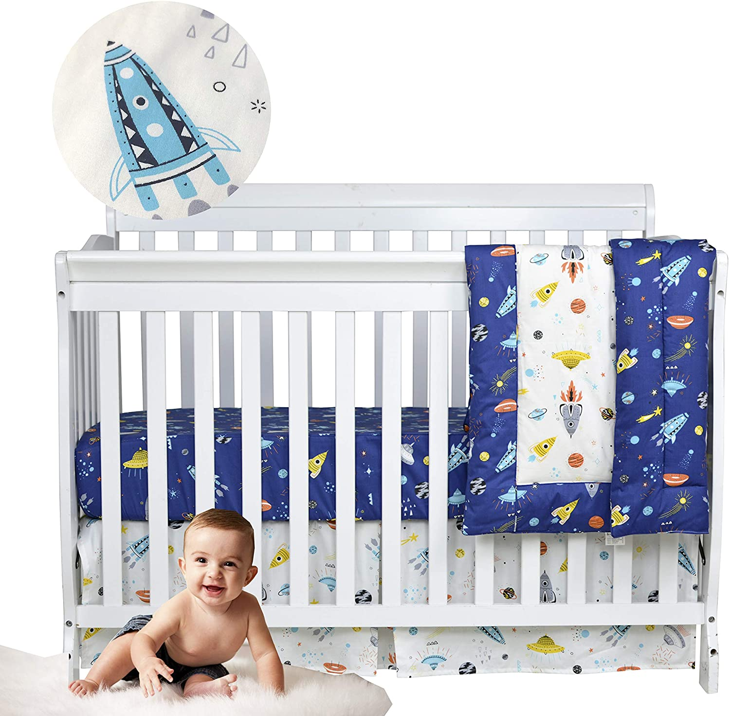 Brandream Baby Boys Crib Bedding Sets Outer Space, Rocket & Planet & Astronaut Nursery Bedding Set,3 Piece Baby Infant Newborn Crib Comforter Sets 100% Cotton, Navy/White