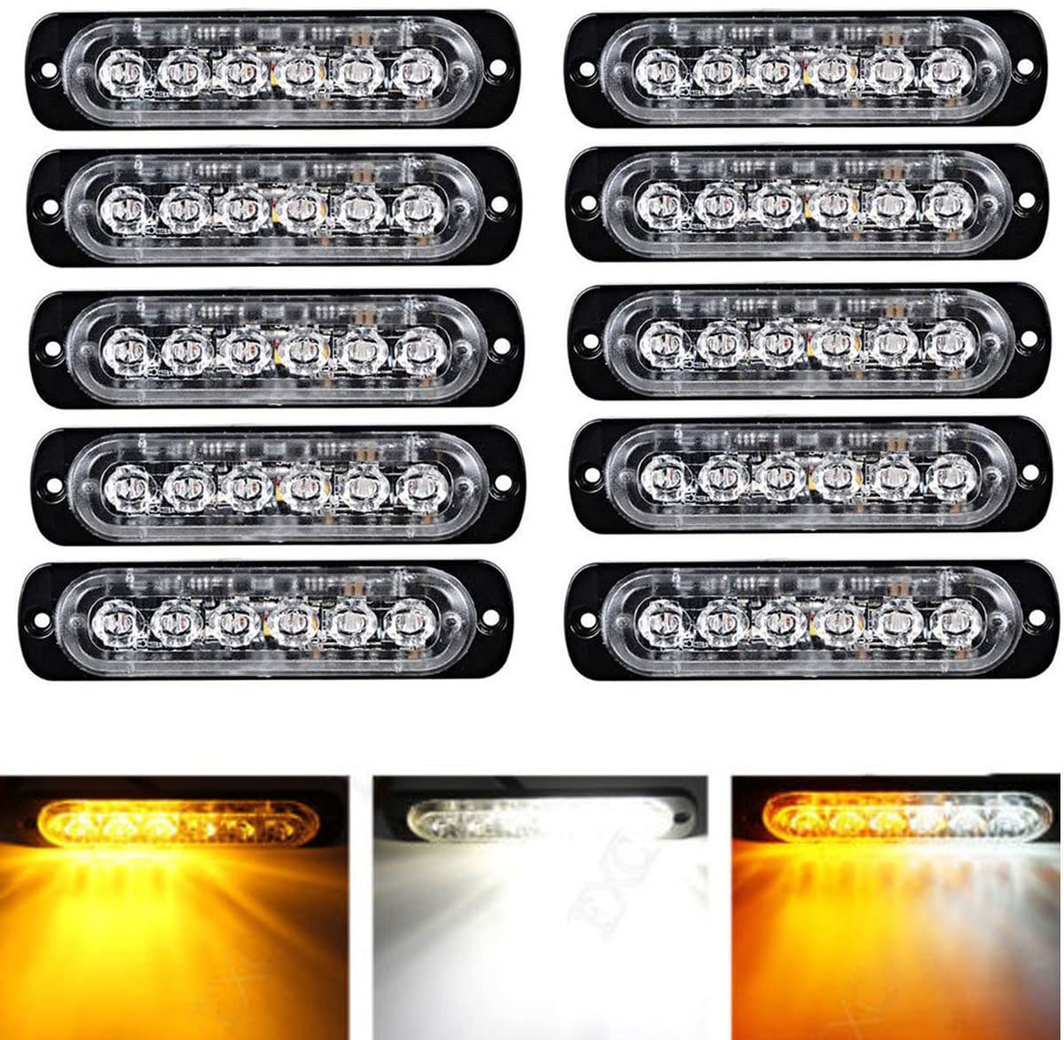 Universal 12V-24V Super Bright Amber/White 18W 6-LED Warning Emergency Construction Surface Mount Beacon Flash Caution Strobe Light Bar (10)
