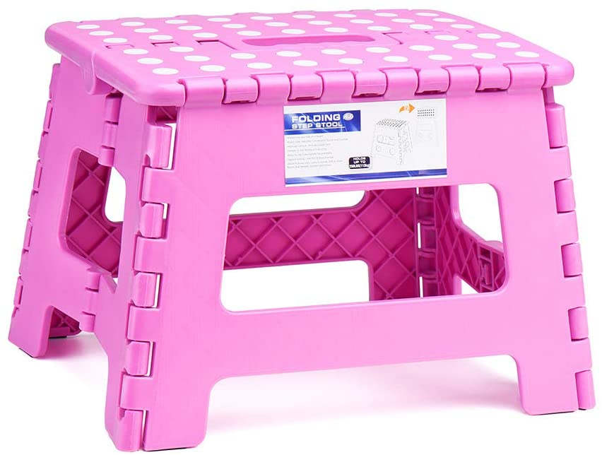 ACSTEP Acko 9Inch Folding Step Stool - The Lightweight Step Stool is Sturdy and Safe Enough for Kids. Opens Easy with One Flip. Great for Kitchen, Bathroom, Bedroom Pink