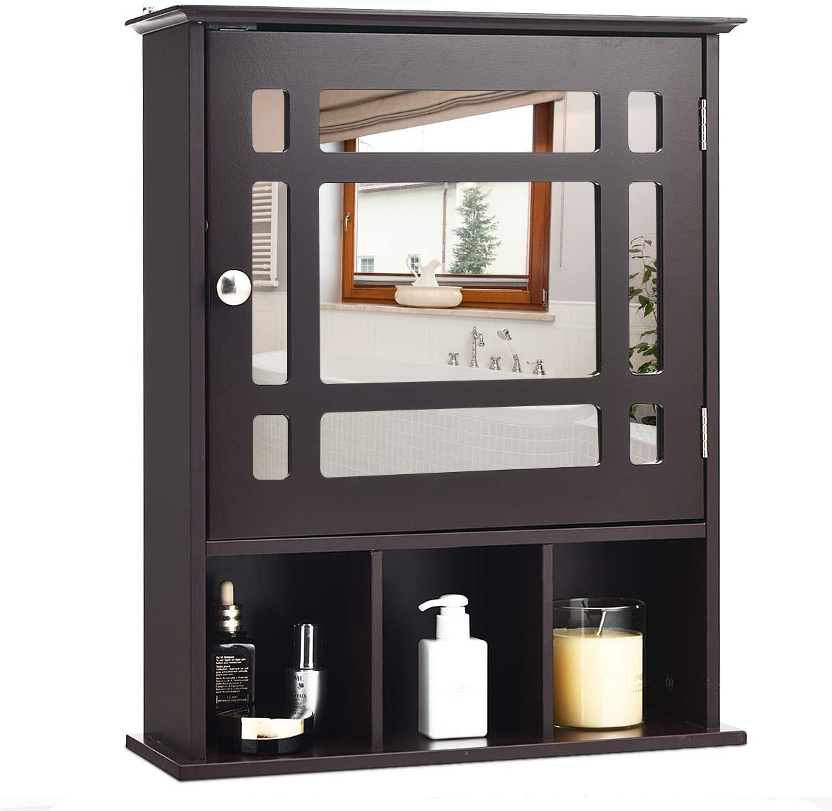 Tangkula Mirrored Medicine Cabinet, Bathroom Wall Mounted Storage Cabinet with Adjustable Shelf and 3 Open Compartments (Espresso)