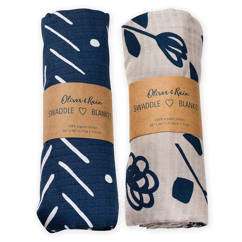 Oliver & Rain Boy Organic Muslin Swaddle Baby Blanket, Dark Blue Chevron, Taupe Flower