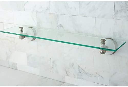Kingston Brass Satin Nickel Glass Bathroom Shelf - Grey