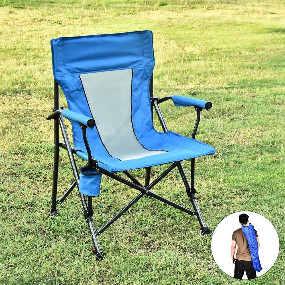 USSerenaY Camping Chair Folding Lawn Chair with Padded Hard Arms Camping Lawn Portable Chair with Cup Holder, Carry Bag for Fishing, Hiking, Travelling