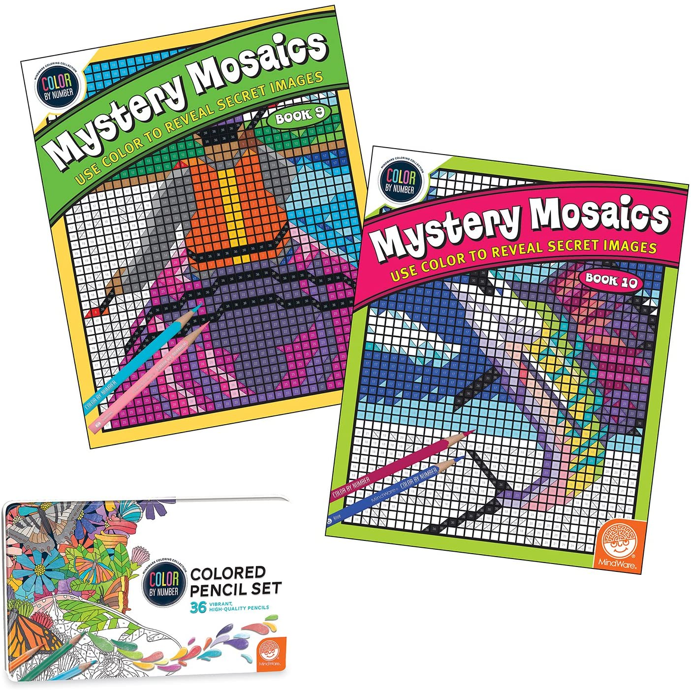 MindWare Mystery Mosaics Color by Number Set of 2 with Numbered Colored Pencils