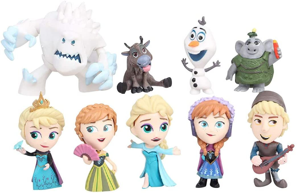 9Pcs Frozen cake topper Action Figures Toys Frozen cake decorations for Frozen party supplier birthday and Party