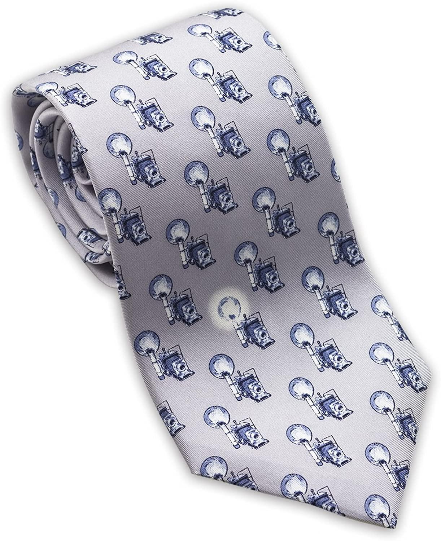 Josh Bach Men's Speed Graphic Camera Silk Necktie Gray, Made in USA