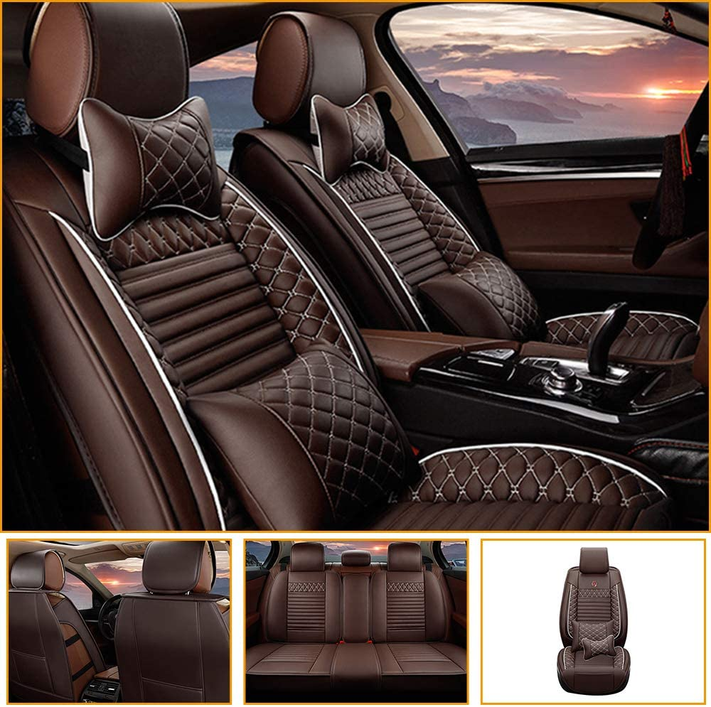 Jiahe Car Seat Cover for BMW 3 Series E90 E92 F30 F35 F34GT 318i 320i 325i 328i 330i 335i 316Li 318Li 320Li 328Li 330Li Universal Car Seat Protectors 5-Seat Leather Waterproof,Coffee Deluxe