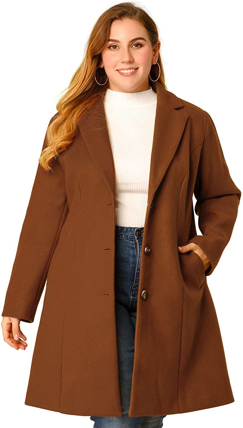 Agnes Orinda Women's Plus Size Coat Breasted Button Notched Lapel Trench Elegant Long Coats