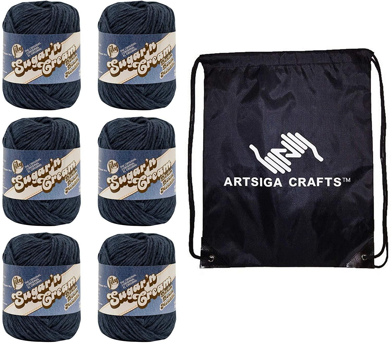 Lily Knitting Yarn Sugar N Cream Solids Indigo 6-Skein Factory Pack (120yd ea. Same Dyelot) Lot 102001-1114 Bundle with 1 Artsiga Crafts Project Bag