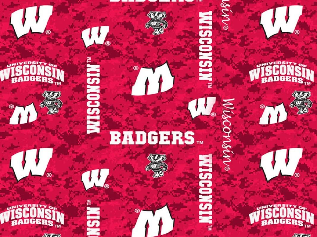 University of Wisconsin Fleece Blanket Fabric-WISCONISN Badgers Fleece Fabric-Camouflage Design