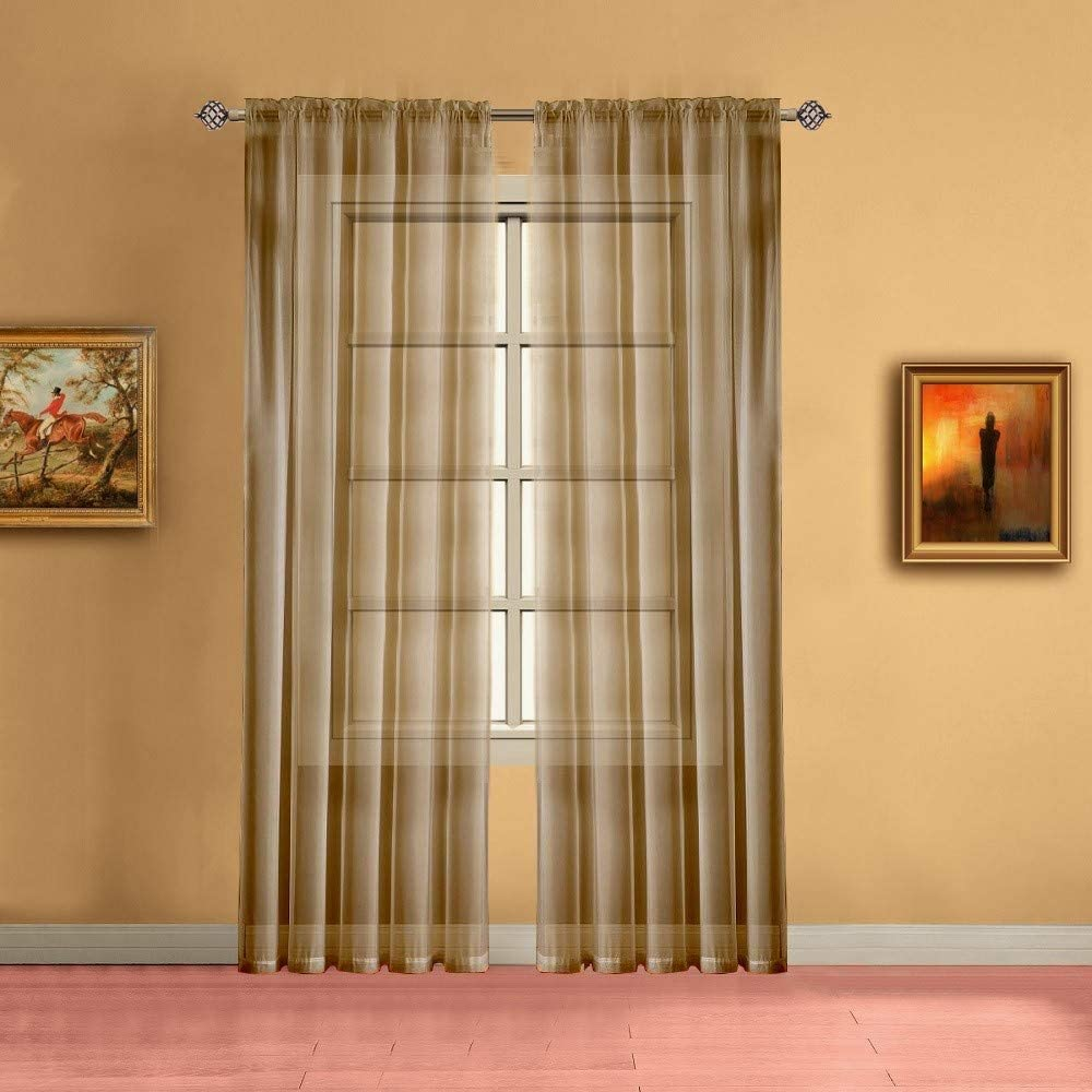 Warm Home Designs Pair of Medium Length Caramel Gold Sheer Window Curtains. Each Voile Drape is 56 X 72 Inches in Size. Great for Kitchen, Living, Kids Room. 2 Fabric Panels Included. AM Gold 72