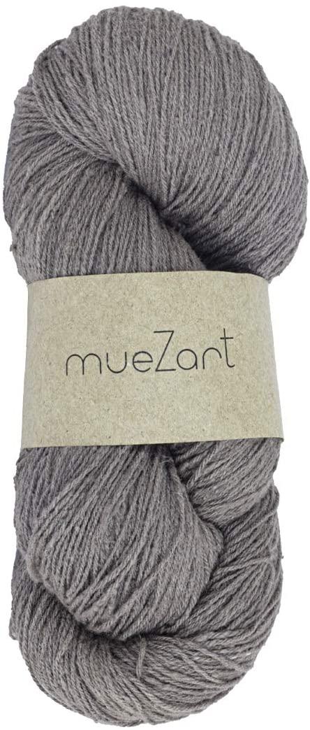 Muezart Erino Yarn | 100% Natural Eri Silk & Merino Wool Blended Yarn | 100g Skein 500 Yards (Approx) | 15/3 Fingering | Weaving, Crocheting, Knitting | Naturally Plant Dyed by Hand | Smokey Gray