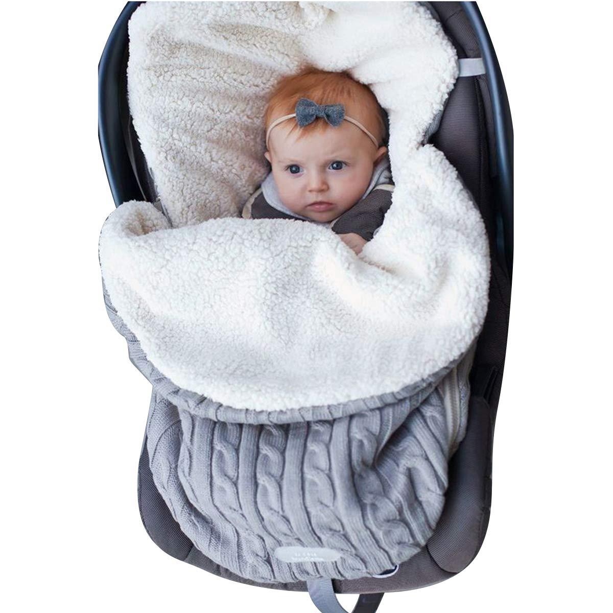 Baby Swaddle Blanket Stroller Wrap Fleece Blanket Sleeping Bag Plus Velvet (Grey)
