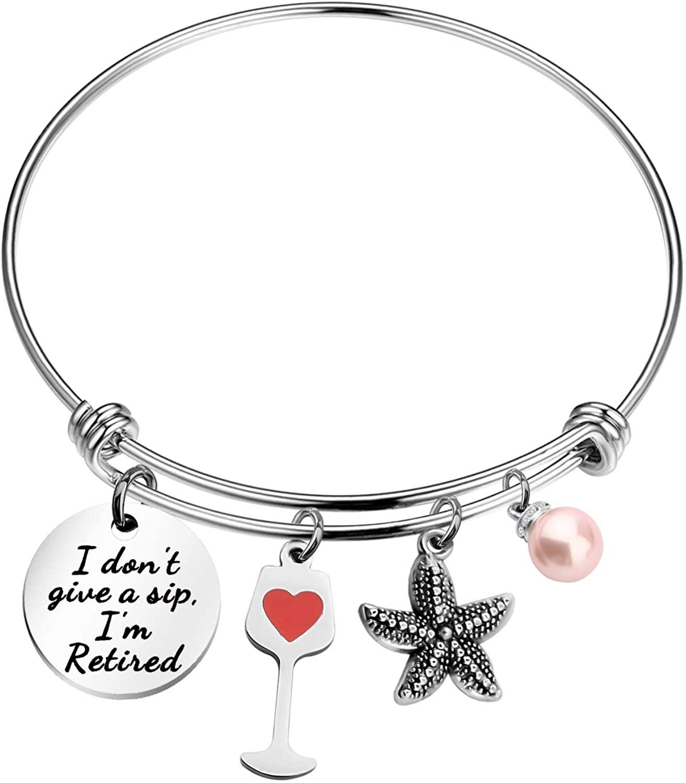 POTIY Retirement Gift for Women Retirement Bracelet I Don't Give a Sip I'm Retired Bracelet Coworker Retired Gift