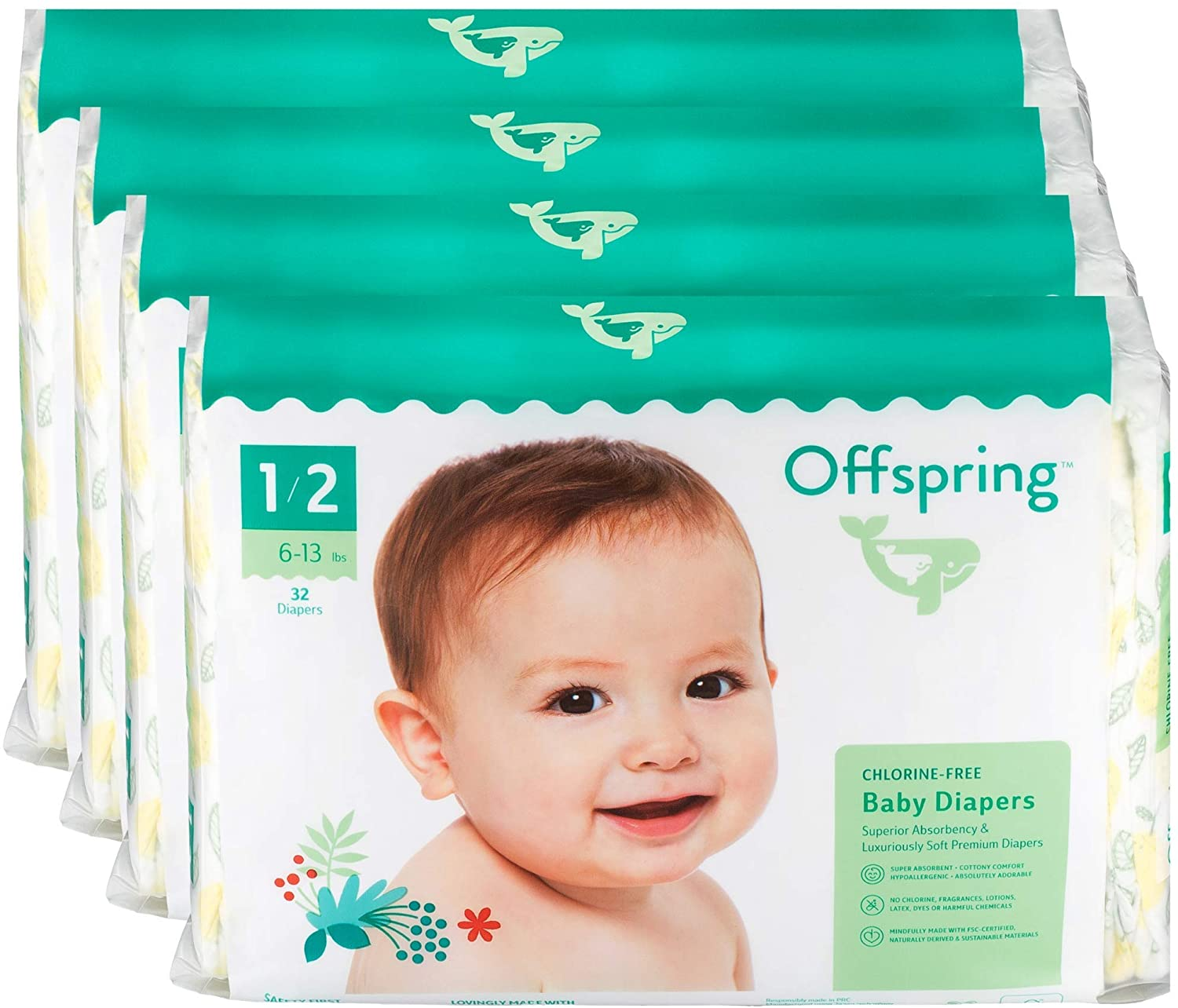 Offspring Disposable Diapers - New - Size 1 to Size 2 (6-13 lbs.) - Eco-Friendly - Premium Ultra Soft - Double Leak Guard Technology - Made with Sustainable Materials - 128 Count