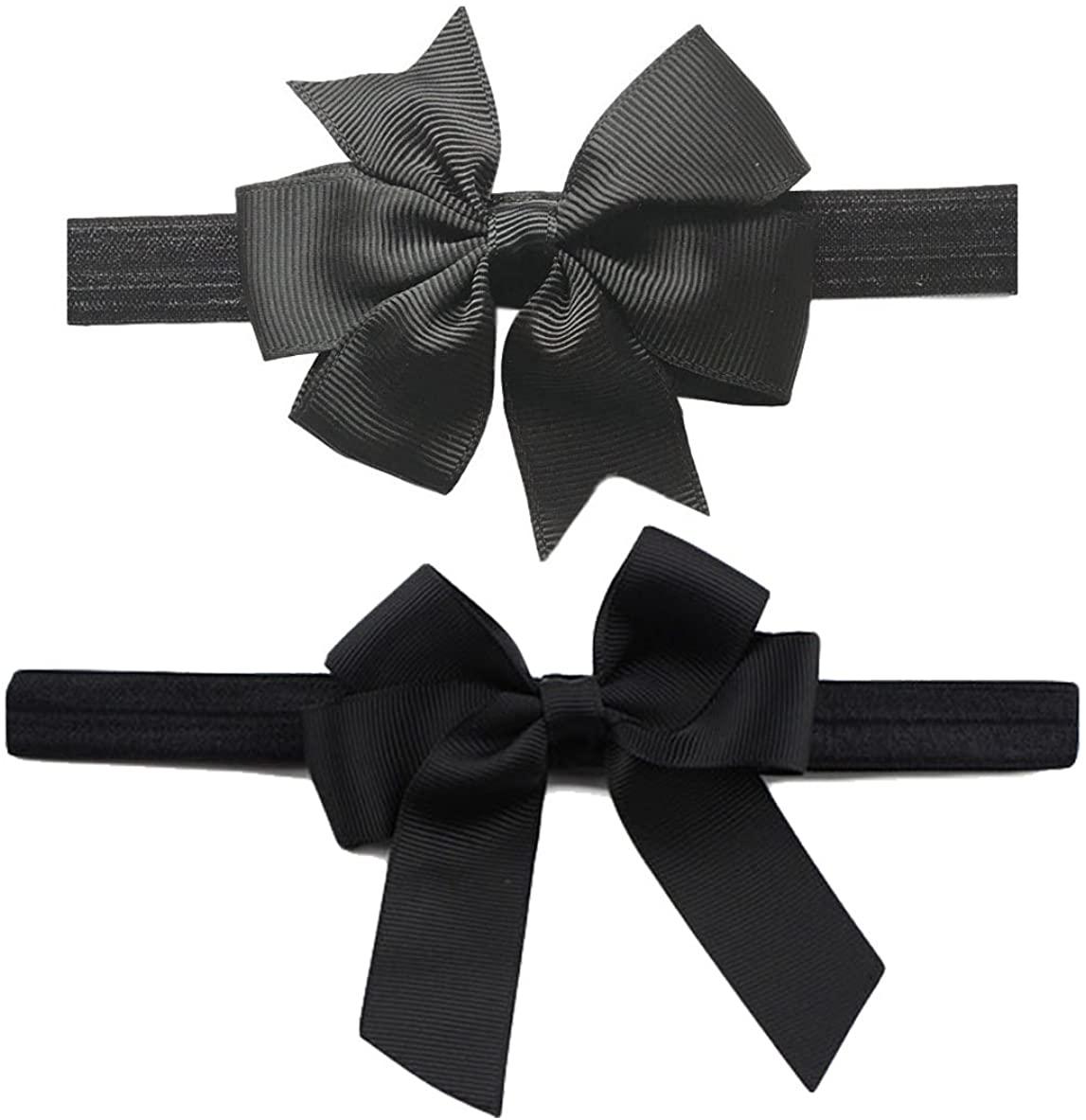 Black Baby Girls Headband Grosgrain Ribbon Hairband Hair Bows Set S01