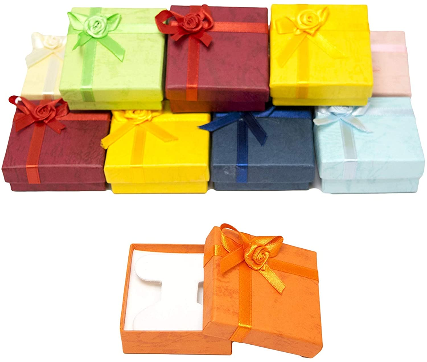 USA BEST SUPPLY Jewelry Earring Gift Boxes with Rosebug Bows in Assorted Colors 2.3X2.3X0.75 (Pack of 6)