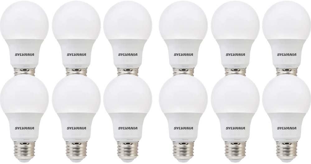 SYLVANIA General Lighting 74469 SYLVANIA, 60W Equivalent, LED Light Bulb, A19 Lamp, 12 Pack, Soft White, Energy Saving & Longer Life, Value Line, Medium Base, Efficient 8.5W, 2700K, 12 Count