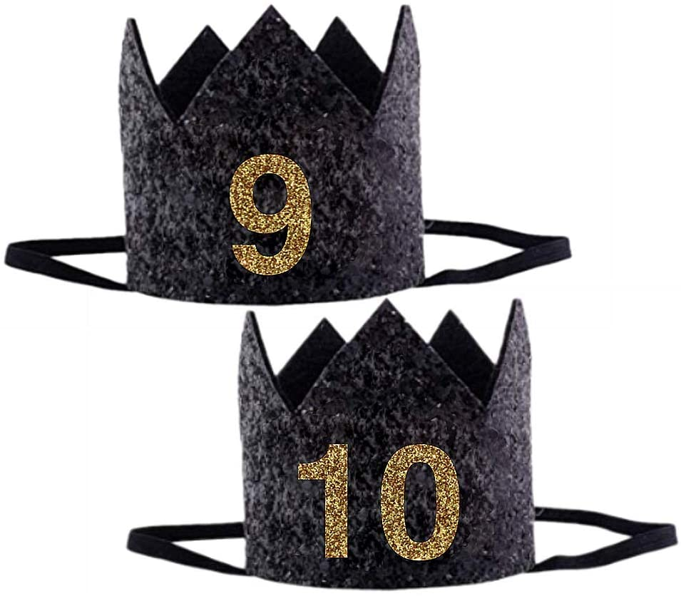 1-60 Years Birthday Party Top Hat Felt Party Crown 1st Birthday Hat(9-10)