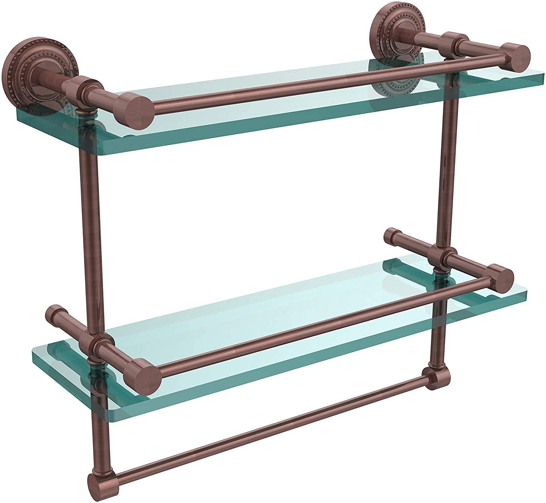 Allied Brass DT-2TB/16-GAL-CA Dottingham 16 Inch Gallery Double Towel Bar Glass Shelf, Antique Copper