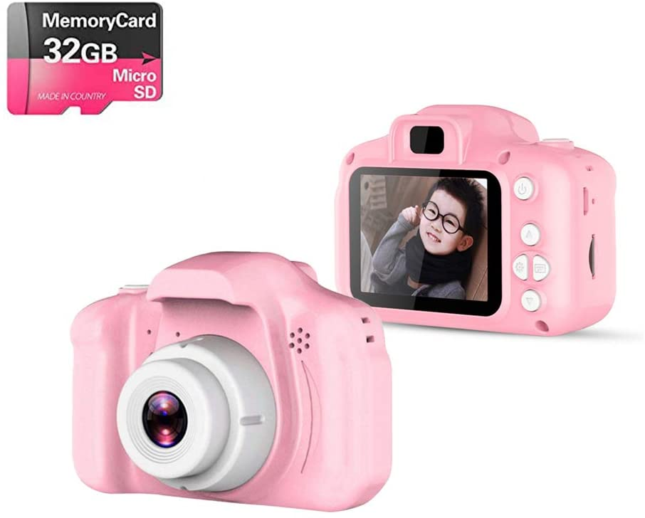 Upgrade Kids Digital Camera with 8 Megapixel, 2 Inch IPS Screen HD 1080P Kids Selfie Camera, Great Gift for Kids, Toddlers, Toy for Boys and Girls, Ages 3, 4, 5, 6, 7, 8,9,10 with 32GB SD Card (Pink)