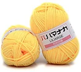 Cotton Yarn Skeins Knitting and Crochet Yarn Bulk,4 Shares Combed Milk Cotton Yarn Comfortable Skin-Friendly Wool Blended Yarn Apparel Sewing Yarn DIY Hand Knitting Yarn for Hat, Scarf