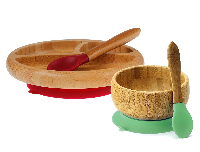 Avanchy Bamboo Baby Feeding Bowl Green + Spoon and Bamboo Baby Feeding Plate Magenta + Spoon. Strong Suction Baby dishware