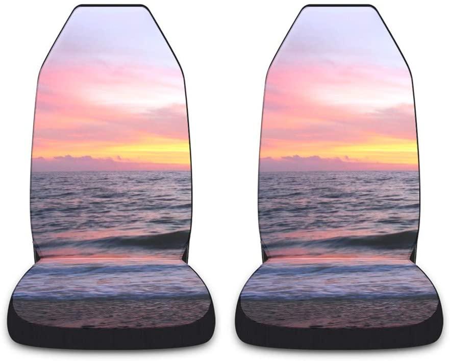 CUXWEOT Sailboat Sunset Ocean Car Seat Covers for Front Set of 2 Vehicle Seat Protector Car Pet Mat Fit Most Car,Truck,SUV,Van