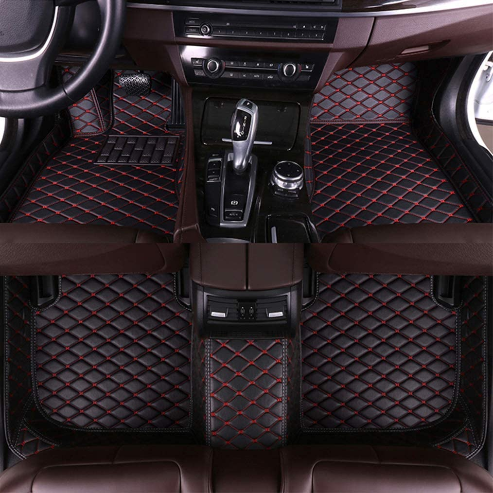 MyGone for Audi A7 2012-2018 Custom Car Floor Mats All Weather Protection Front Contour Liners and 2 Row Liner Set Waterproof Non-Slip Black with Red
