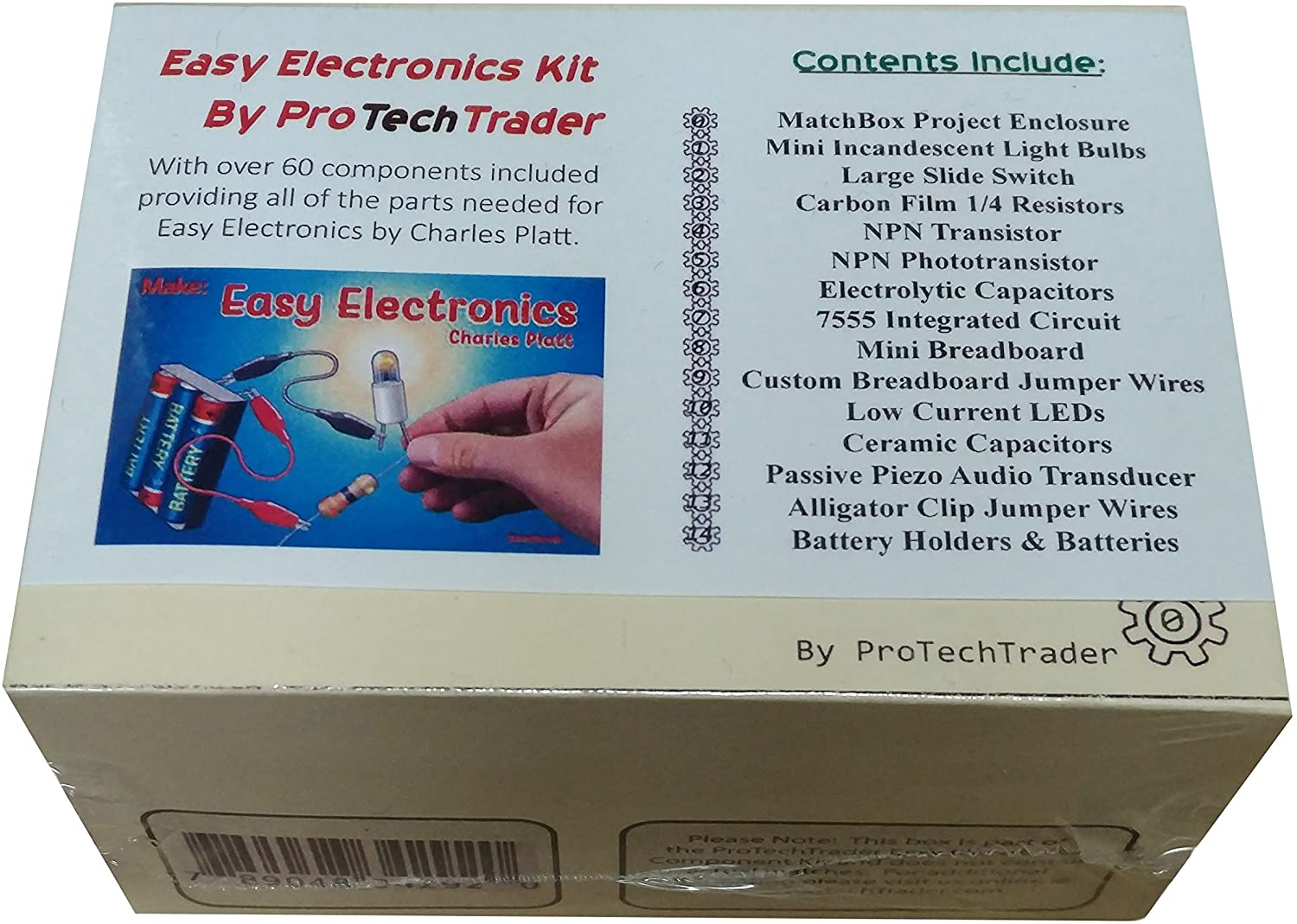 ProTechTrader Make: Easy Electronics Component Pack - Lean Basic Electronics with no Tools for Easy Electronics by Charles Platt (Book Sold Separately)