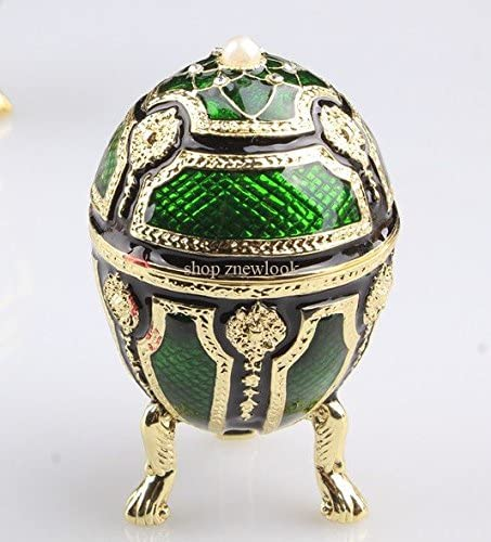 znewlook Crystal Egg Shaped Trinket Box Faberge Inspired Egg Trinket Box with Gold Stand Bejeweled(Green)