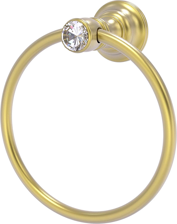 Allied Brass CC-16 Carolina Crystal Collection Towel Ring, Satin Brass